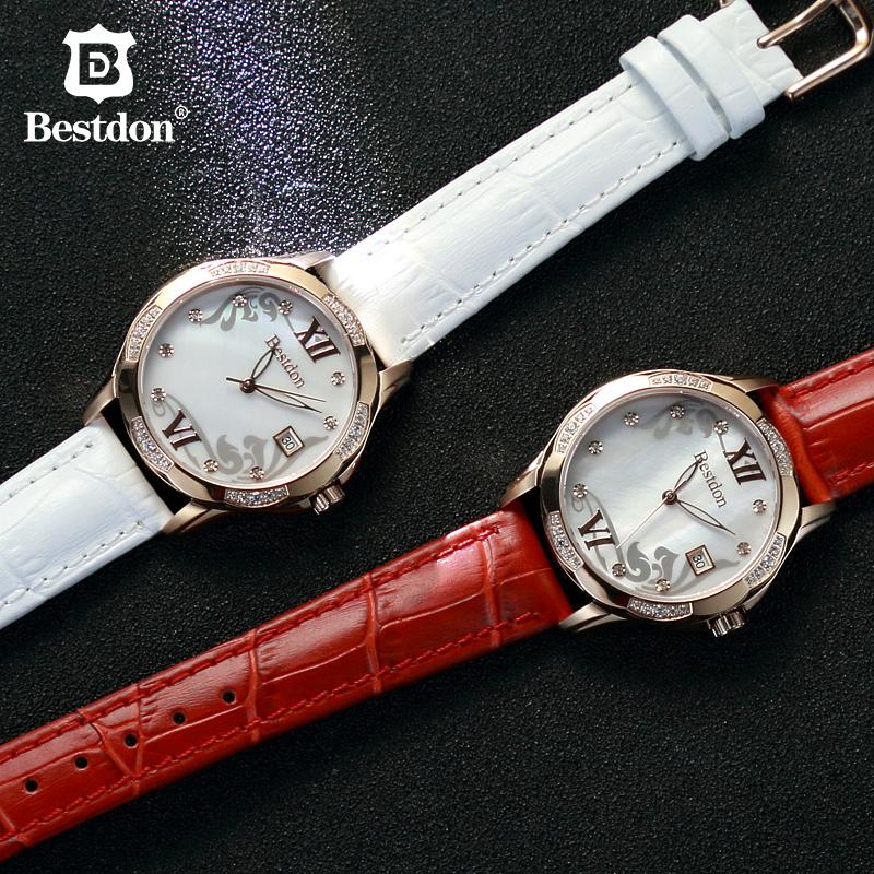 Đồng hồ nữ Bestdon mặt tròn đính đá pha lê