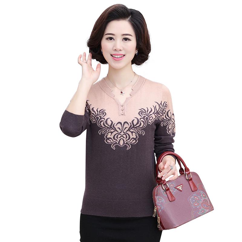 Áo len nữ dài tay trung niên SMT hoa văn phối màu