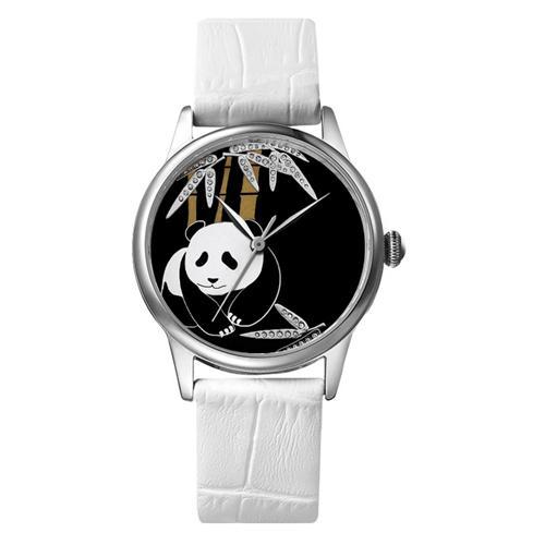 Đồng hồ nữ dây da Pinch L9513-P06 mặt hình gấu trúc