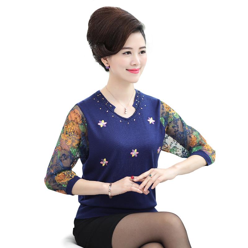 Áo len nữ cổ chữ V tay đáp voan thêu hoa SMT