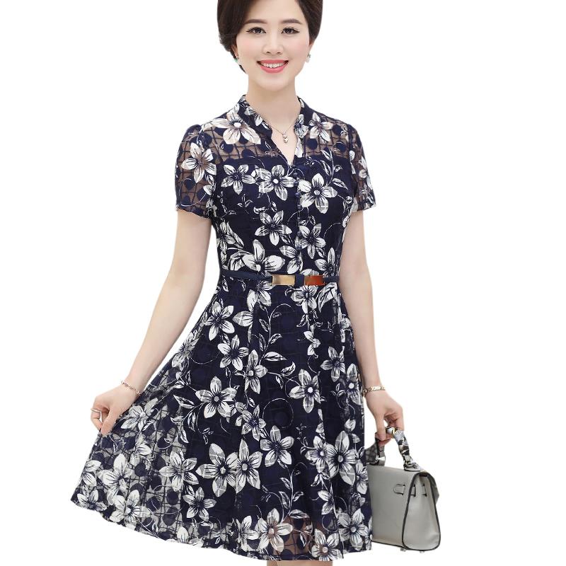 Váy sơ mi trung niên họa tiết hoa lá SMT