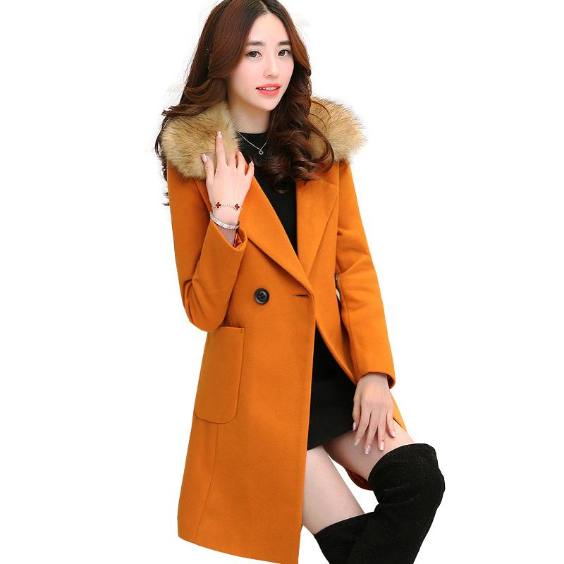 Áo khoác dạ cổ lông dáng dài Yuyi