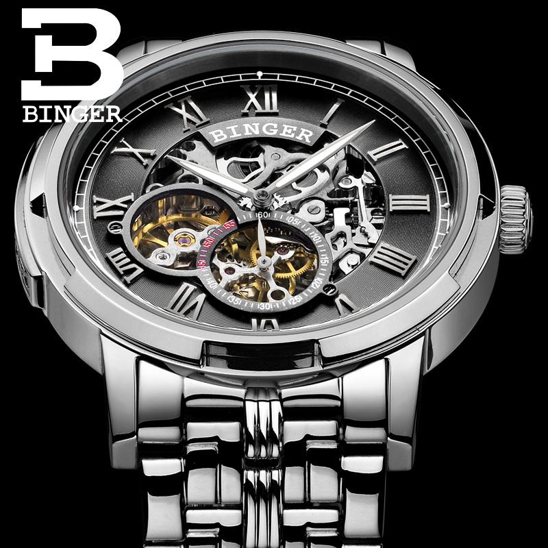 Đồng hồ cơ automatic chạm rỗng cho nam Binger