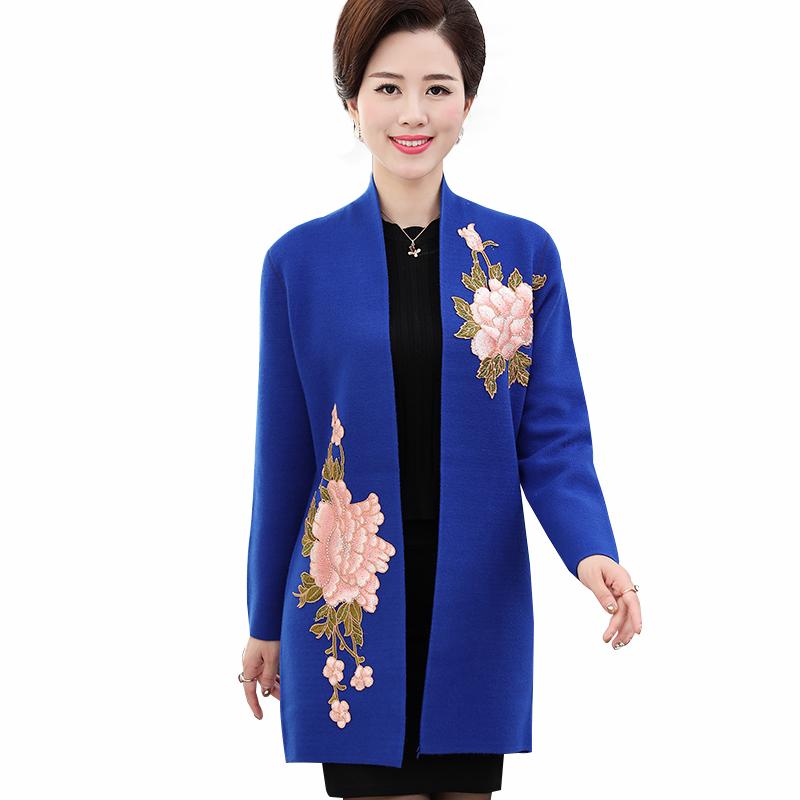 Áo khoác len dáng dài Cardigans họa tiết hoa mẫu đơn đính đá SMT