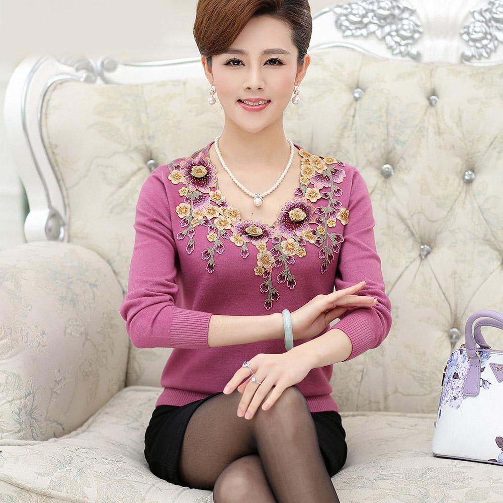 Áo len tay voan nữ trung niên đính hoa SMT