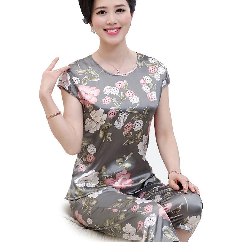 Bộ lửng nữ trung niên tay hến in hoa SMT
