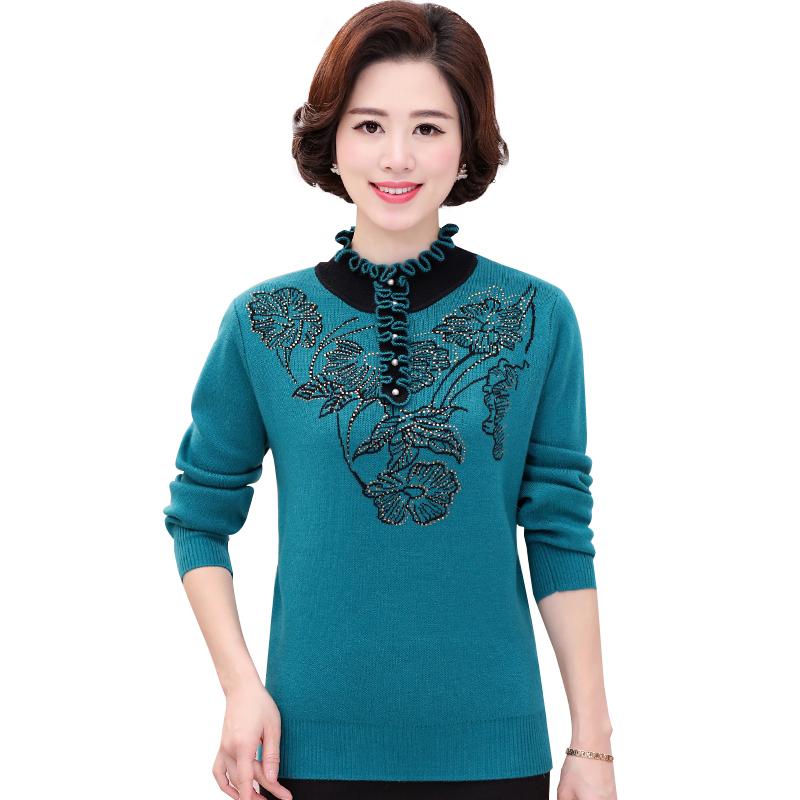 Áo len nữ dệt kim cổ tròn nhún bèo đính đá hoa huệ SMT