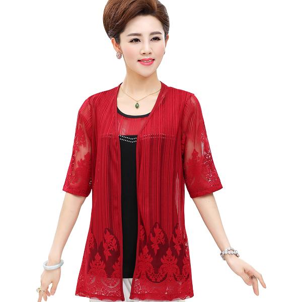 Bộ áo trung niên dệt floral Péman (gồm áo ôm sát nách và áo khoác ren hoa)
