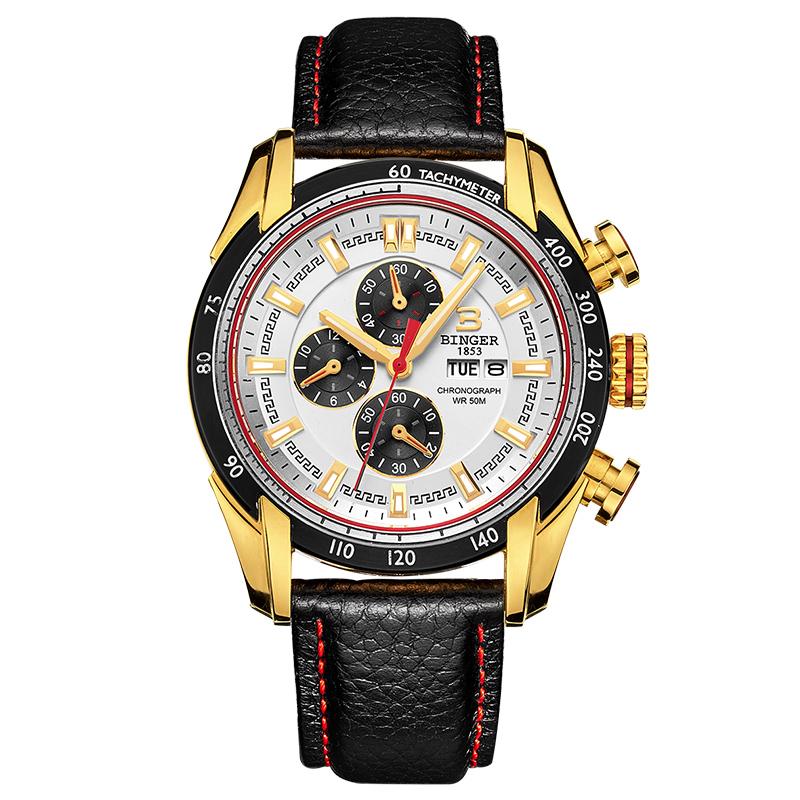 Đồng hồ  chronograph nam phối màu Binger