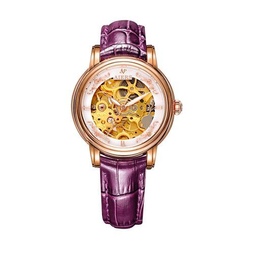 Đồng hồ cơ chạm rỗng nữ Aiers B202L