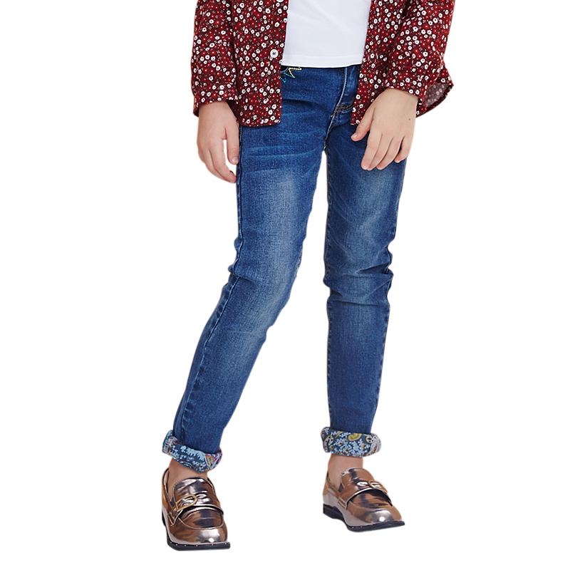 Quần jeans bé gái gập gấu phối họa tiết MYL