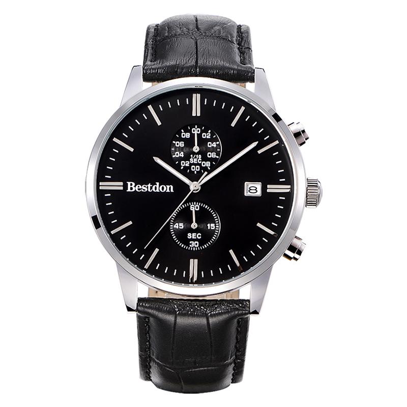 Đồng hồ nam Bestdon dây da mặt số bấm giây