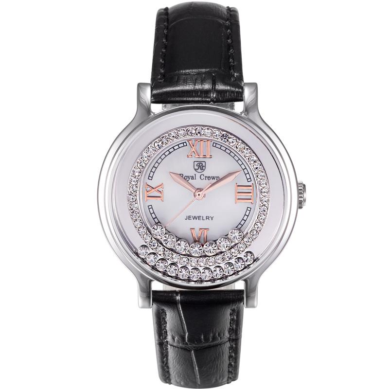 Đồng hồ nữ dây da Royal Crown mặt gắn pha lê