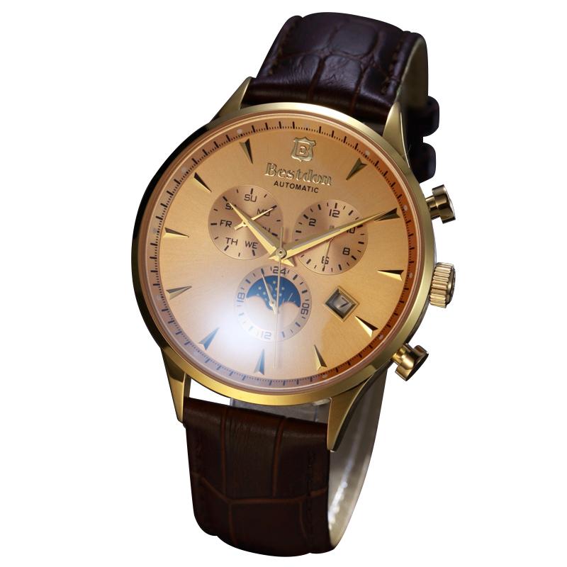 Đồng hồ cơ nam mặt tròn khắc vân Bestdon