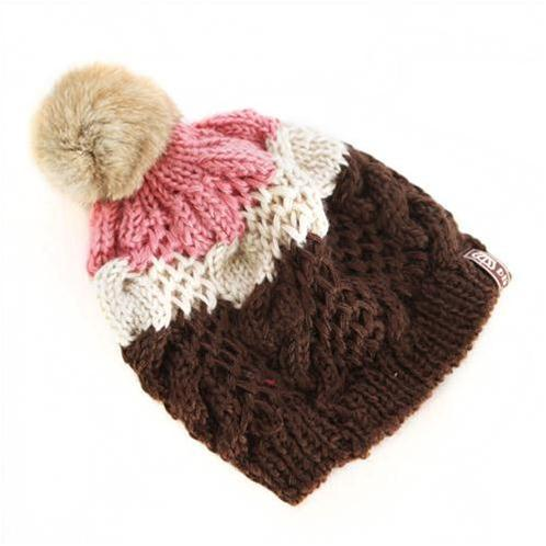 Mũ len 3 màu đính quả bông Pink Sheep