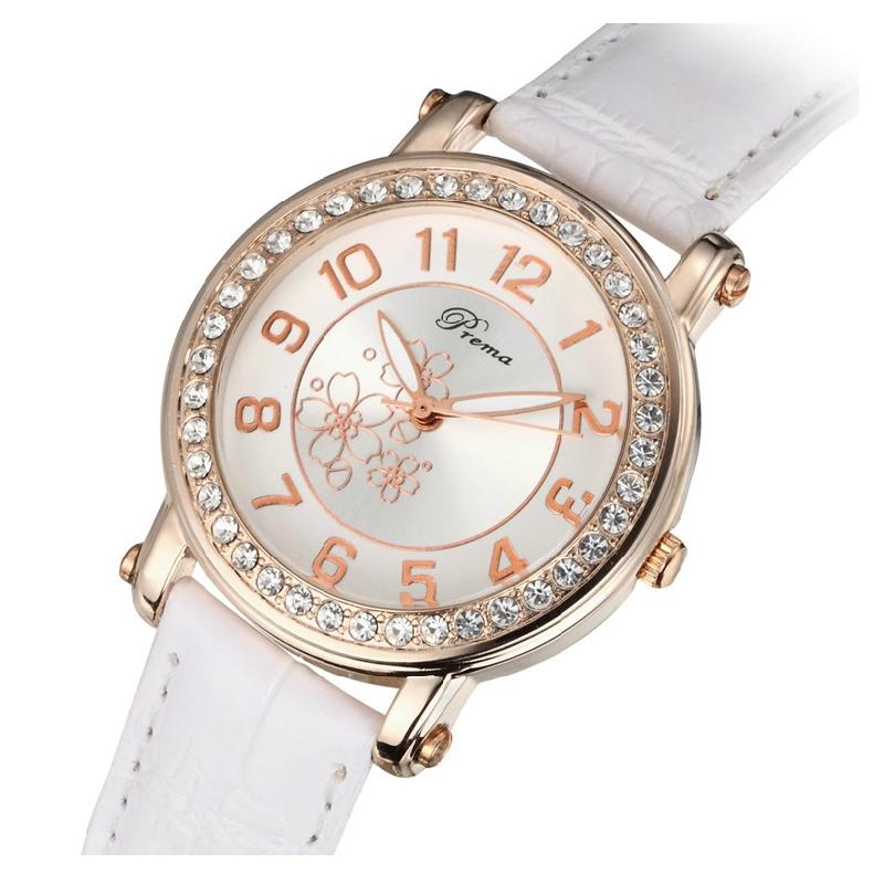 Đồng hồ nữ Prema mặt số viền đính đá