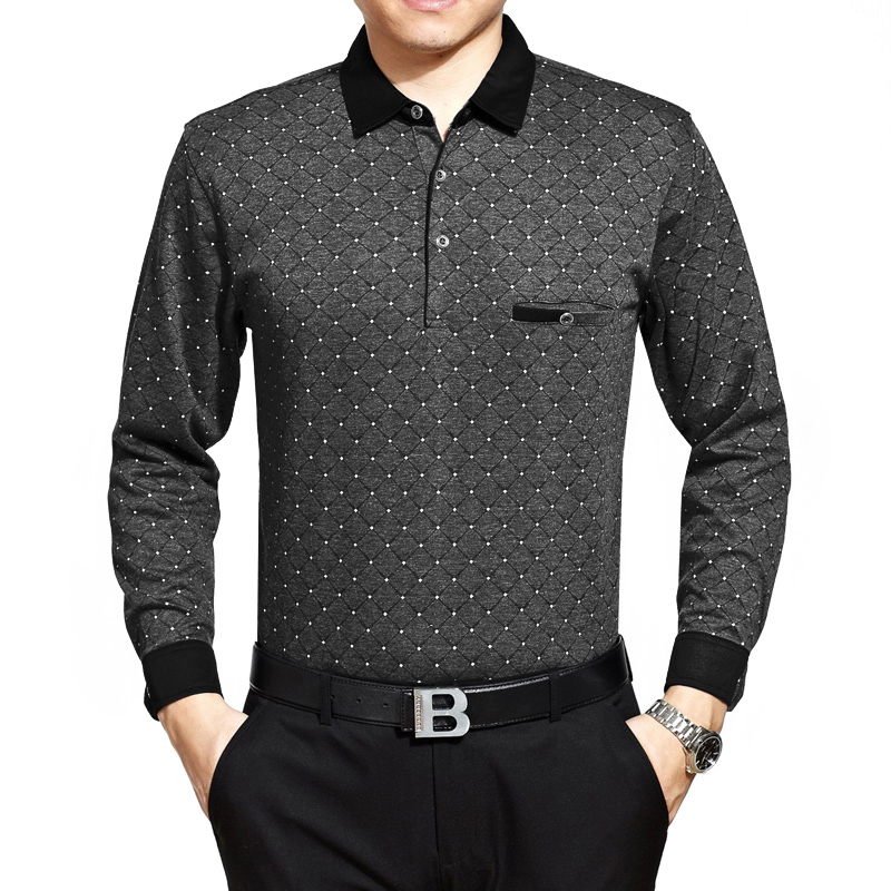 Áo T-shirt trung niên dài tay vân quả trám Sunsus