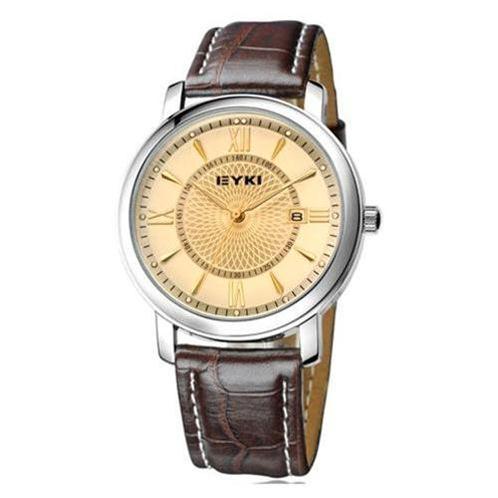 Đồng hồ nam EYKI EET8623 mặt vàng dây da nâu