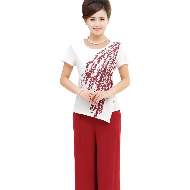 Bộ quần áo nữ trung niên hoa cỏ Péman