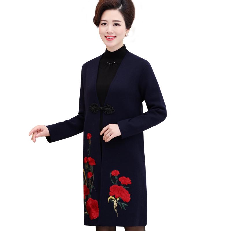 Áo khoác dạ nữ dáng dài thêu hoa cẩm chướng SMT
