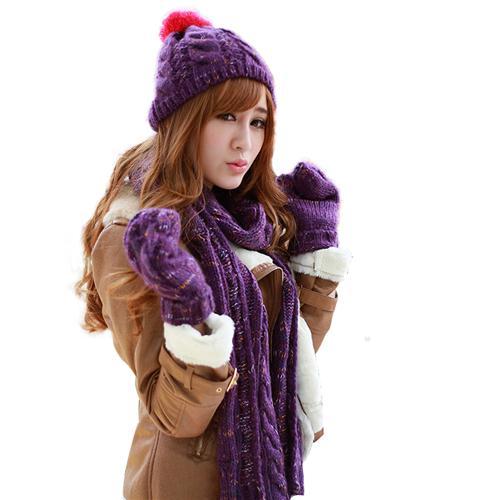 Combo Mũ, khăn quàng và găng tay len nữ