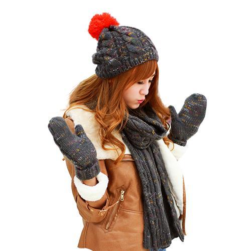 Combo Mũ, khăn và găng tay len nữ thời trang