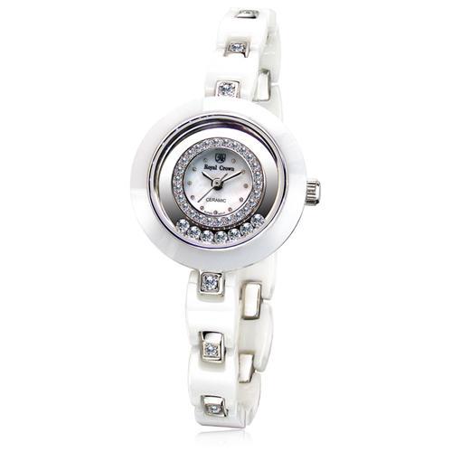 Đồng hồ nữ mặt tròn đính đá Royal Crown 6413