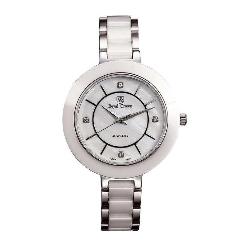 Đồng hồ nữ dây gốm mặt tròn Royal Crown 6314