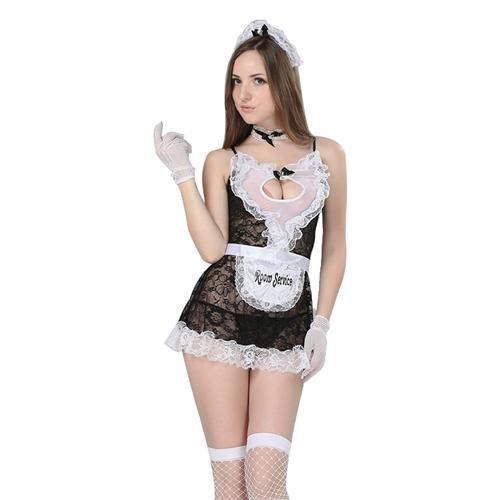 Bộ đồ ngủ phong cách bồi bàn (gồm nơ, váy, quần chữ T, băng tay, chổi lông) Flower Angel