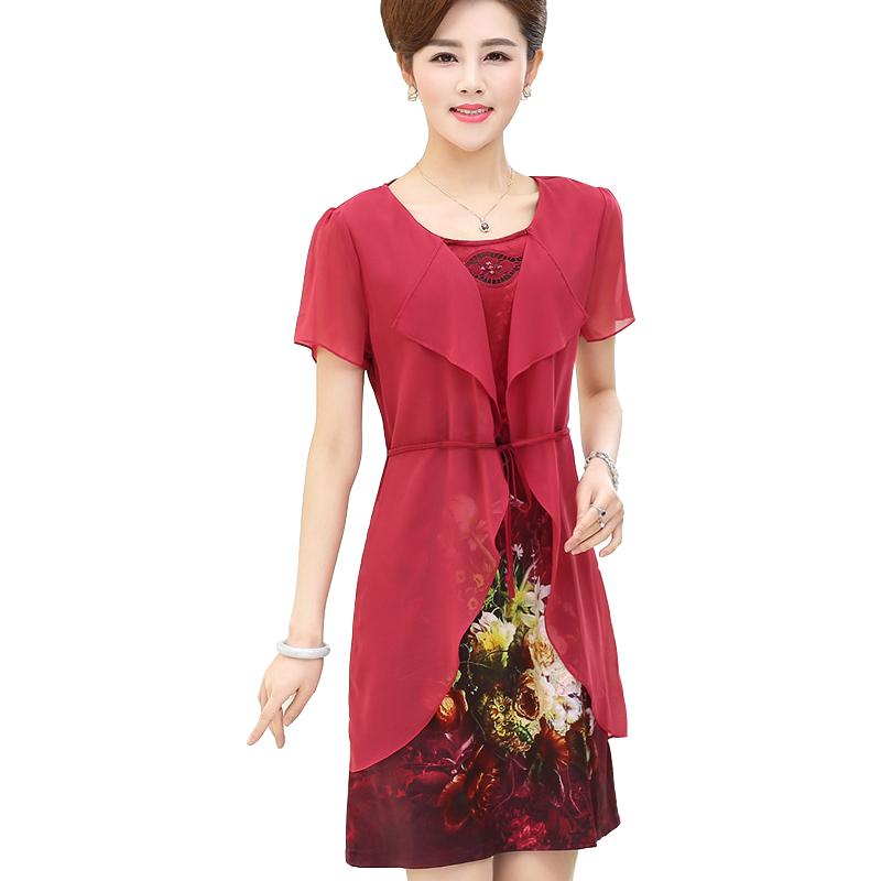 Đầm trung niên hoa voan cách điệu Péman