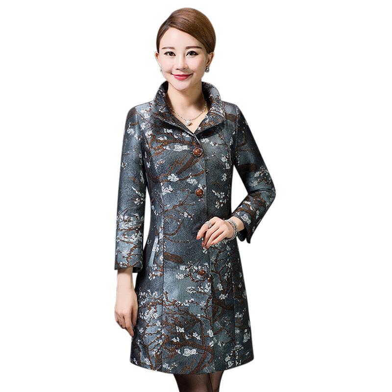 Áo khoác nữ dáng dài họa tiết hoa mai YNAL
