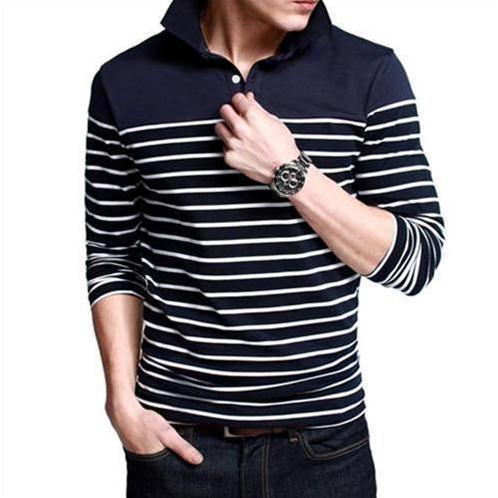 Áo Henley-shirt nam K-Jeans phối màu kẻ ngang