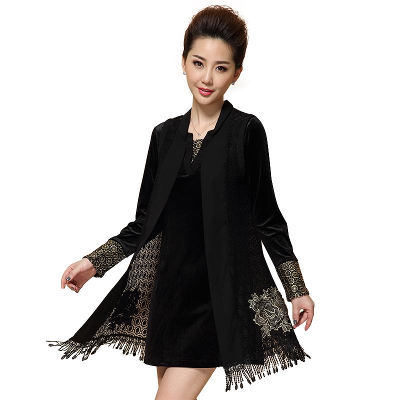 Bộ váy áo thêu hoa ánh kim QIZ (gồm váy liền và áo khoác)