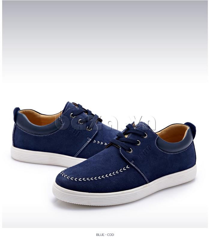 Giày nam da lộn CDD 1308 màu sắc xanh lam đậm dễ phối đồ