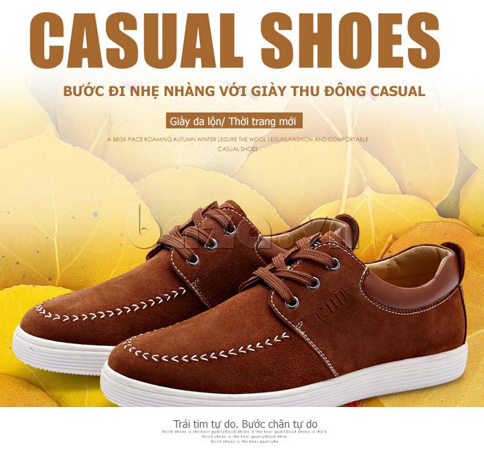 Giày nam da lộn CDD 1308 xứng đáng với danh hiệu giày da mới