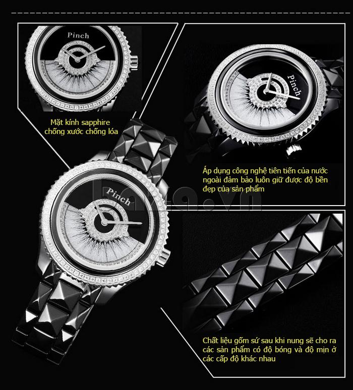 """Đồng hồ nữ """" Đồng hồ thời trang Pinch 1882H """" mắt kính chống xước chống lóa"""