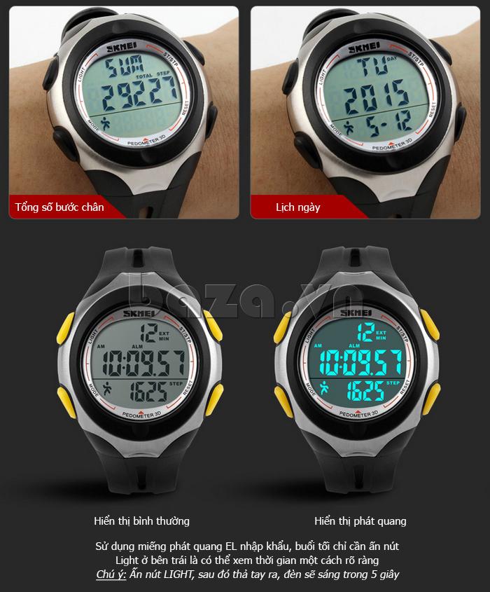 Đồng hồ điện tử nam Pedometer 3D Skmei 1107