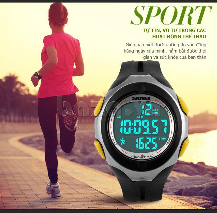 Đồng hồ thể thao nam Pedometer 3D Skmei 1107 - phong cách tự do