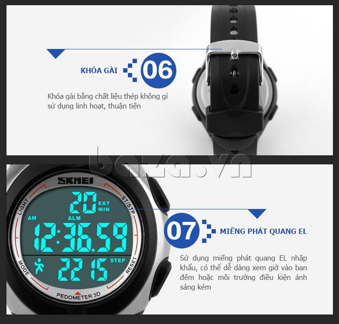 Đồng hồ thể thao nam Pedometer 3D Skmei 1107 tiện dụng