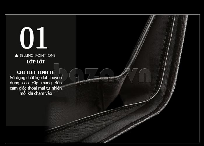 Ví da nam Misisicow 201403-1 sử dụng chất liệu lót chuyên dụng cao cấp, mang đến cảm giác thoải mái tự nhiên