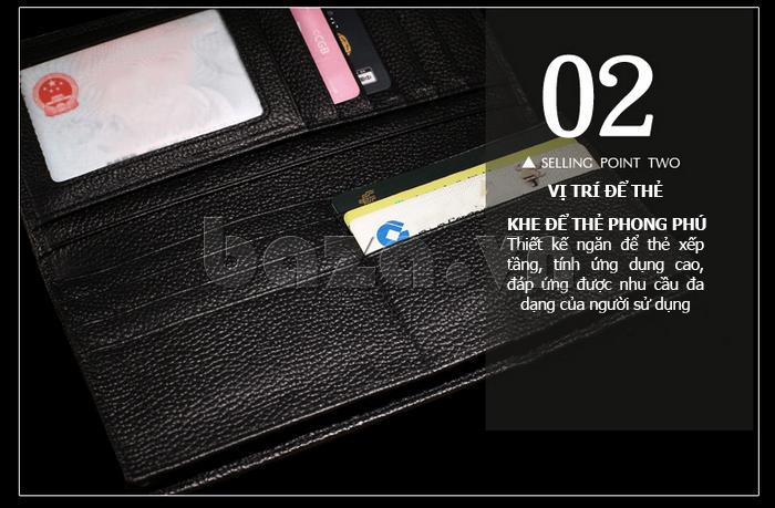 Ví da nam Misisicow 201403-1có các khe để thẻ phong phú, xếp tần mang tính ứng dụng cao