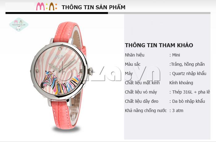 Đồng hồ nữ Mini MN991 tháp Eiffel màu sắc trắng, hồng, xanh