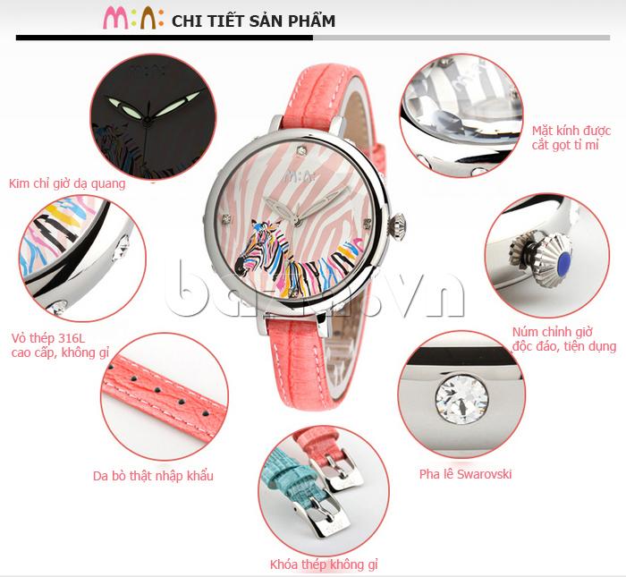 Đồng hồ nữ Mini MN991 tháp Eiffel mặt kính sáng rõ