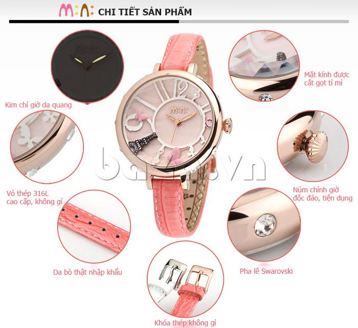 chi tiết sản phẩm của chiếc Đồng hồ nữ Mini MN991 tháp Eiffel độc đáo