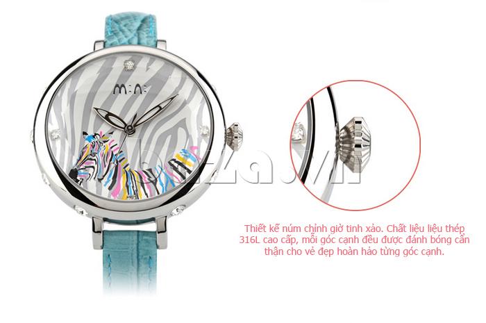 Đồng hồ nữ Mini MN991 tháp Eiffel  núm điều chỉnh xảo