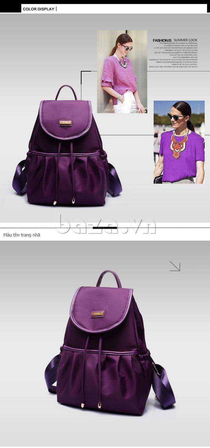 Balo nữ  Hàn Quốc Binnitu WG7728 màu tím