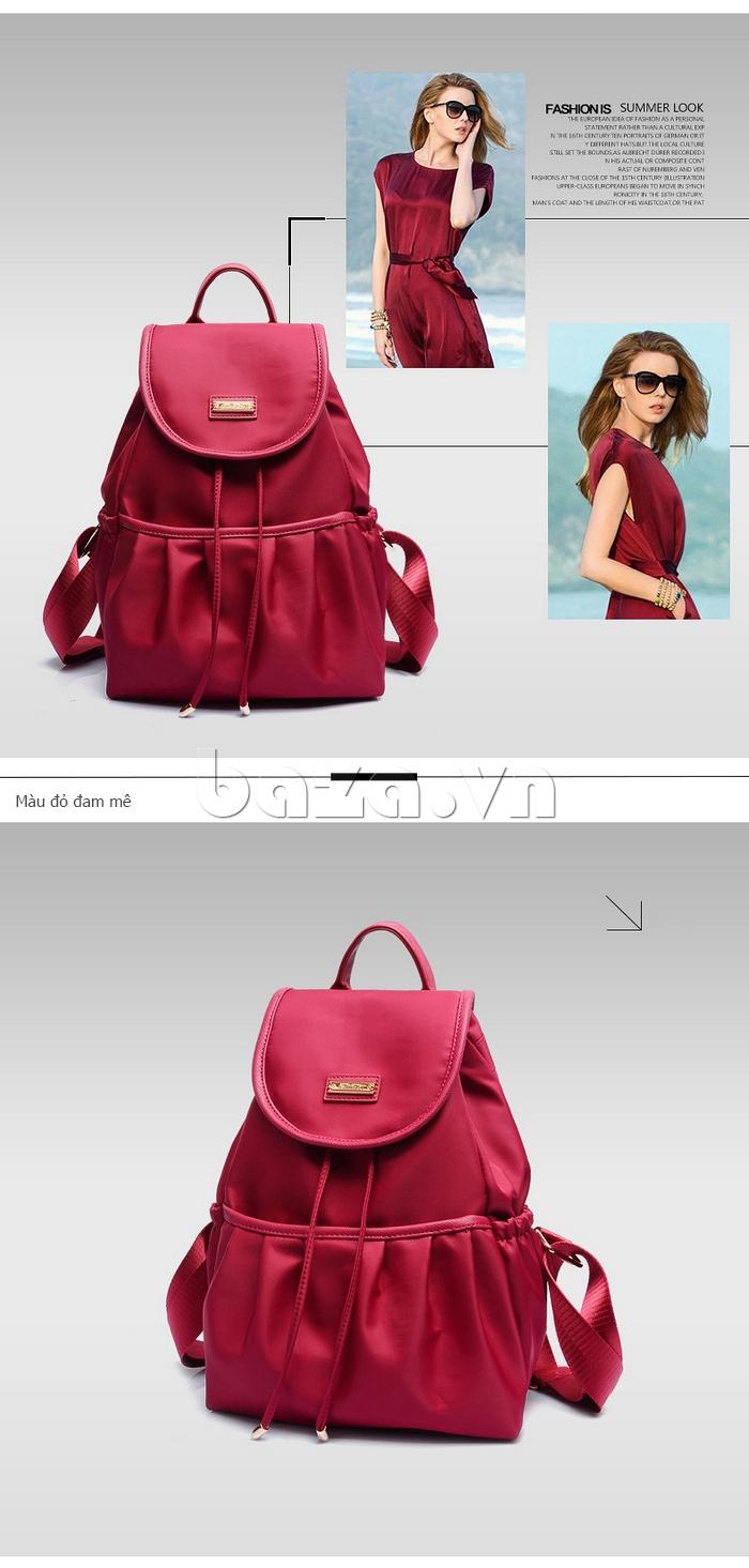 Balo nữ  Hàn Quốc Binnitu WG7728 màu đỏ