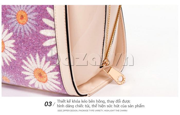 Túi xách nữ hoa hướng dương Binnitu 12253 khóa kéo bên hông