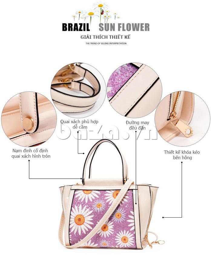 Túi xách nữ hoa hướng dương Binnitu 12253 phong cách