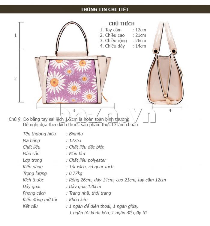 Túi xách nữ hoa hướng dương Binnitu 12253 họa tiết